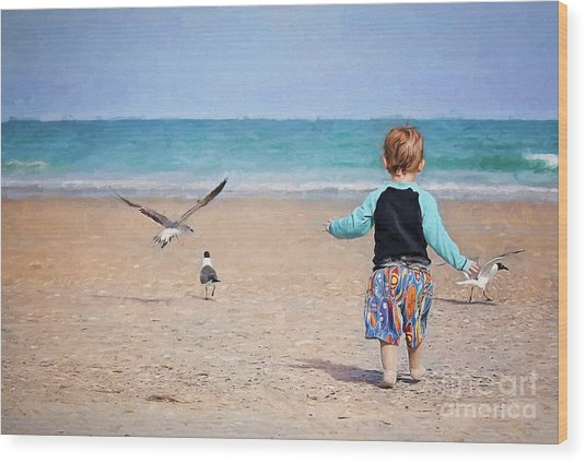 Chasing Birds On The Beach Wood Print