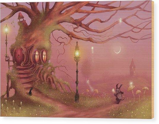 Chasing Fairies Wood Print
