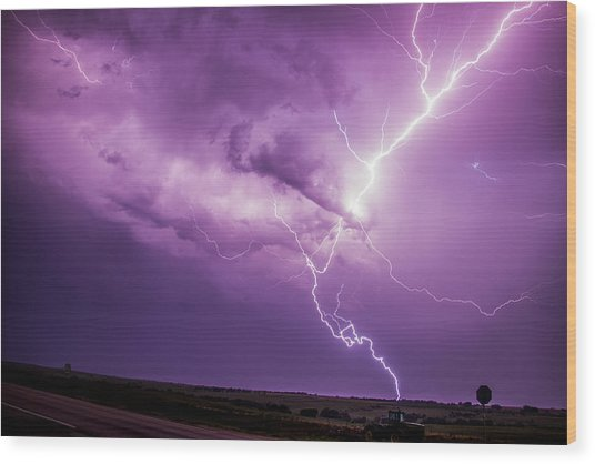 Chasing Nebraska Lightning 018 Wood Print