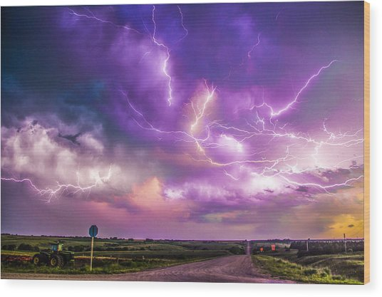 Chasing Nebraska Lightning 056 Wood Print