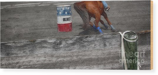 Chasing The Barrel  Wood Print by Steven Digman