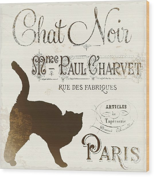 Chat Noir Paris Wood Print