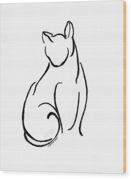 Chat Un Wood Print by Caprice Scott