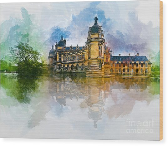 Chateau De Chantilly Wood Print