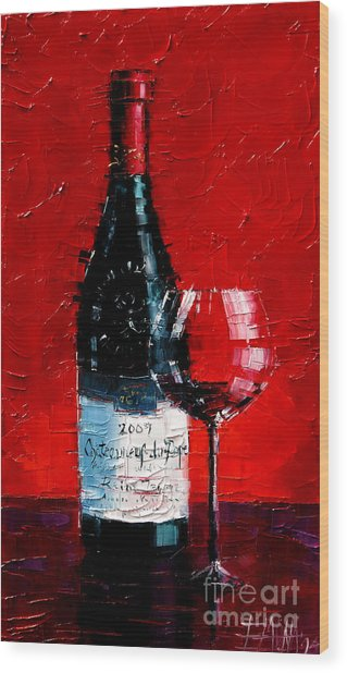 Still Life With Wine Bottle And Glass I Wood Print