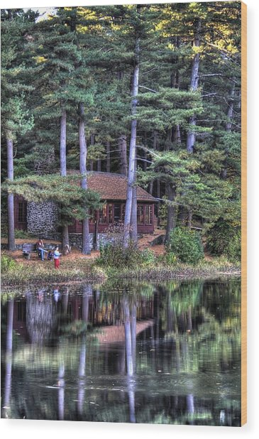 Chatfield Hollow Cabin Wood Print by Sam Turgeon