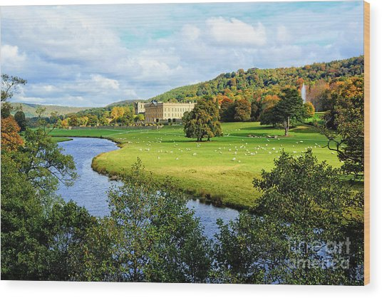Chatsworth House View Wood Print