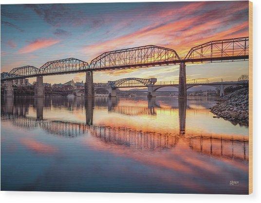 Chattanooga Sunset 5 Wood Print
