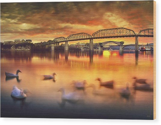 Chattanooga Sunset With Ducks Wood Print