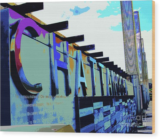 Chattanooga Tennessee Sign Wood Print