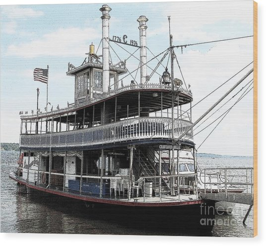 Wood Print featuring the photograph Chautauqua Belle Steamboat With Ink Sketch Effect by Rose Santuci-Sofranko