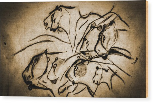 Chauvet Cave Lions Burned Leather Wood Print