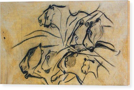 chauvet cave lions Clear Wood Print
