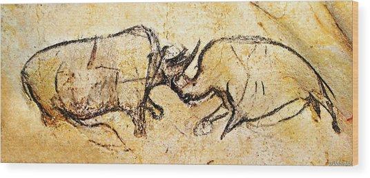 Chauvet Rhinoceros In Combat Wood Print