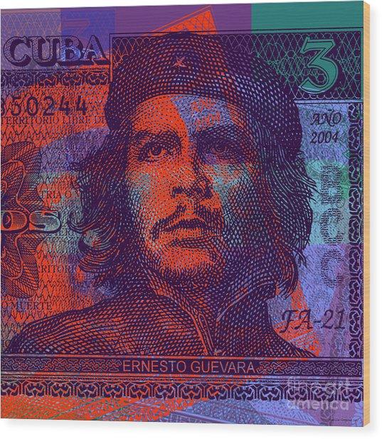 Che Guevara 3 Peso Cuban Bank Note - #3 Wood Print