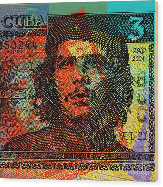 Che Guevara 3 Peso Cuban Bank Note - #1 Wood Print