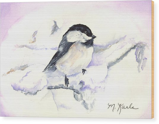 Cheeky Chickadee Wood Print