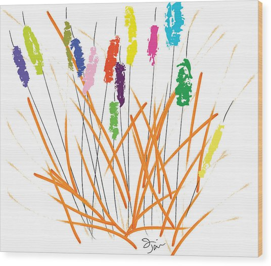 Cheerful Cattails Wood Print