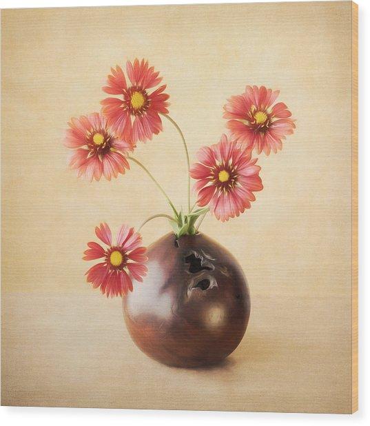 Cheerful Daisies Wood Print