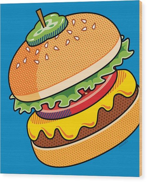 Cheeseburger On Blue Wood Print