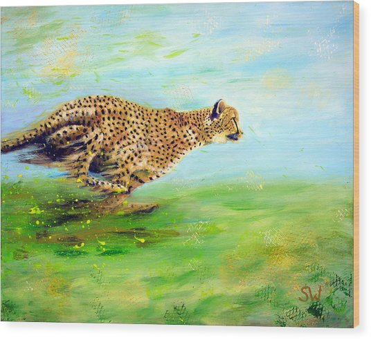 Cheetah At Speed Wood Print