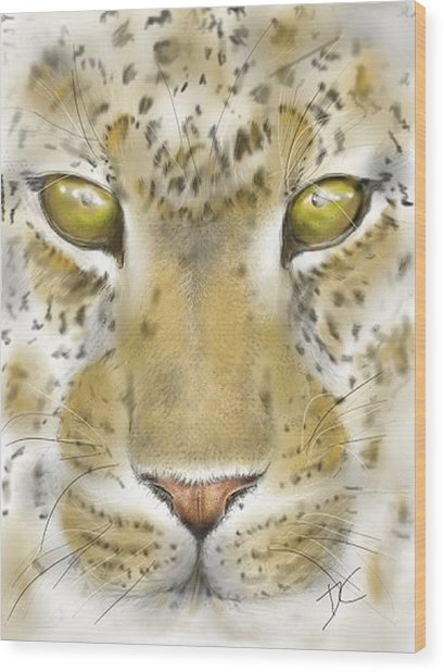 Wood Print featuring the digital art Cheetah Face by Darren Cannell