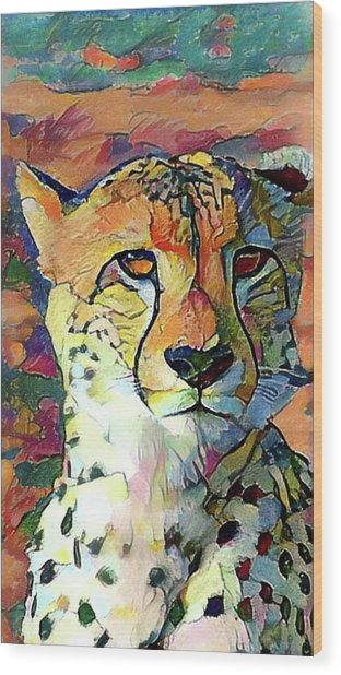 Cheetah Face Wood Print