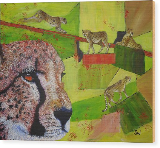 Cheetahs At Play Wood Print