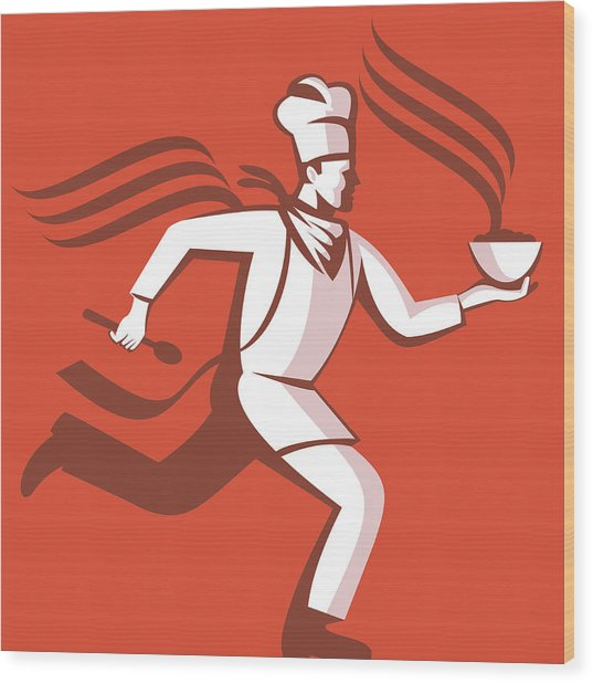 Chef Cook Baker Running With Soup Bowl Wood Print by Aloysius Patrimonio