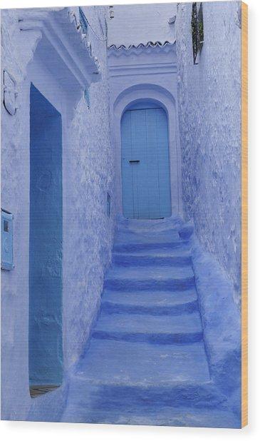 Chefchaouen Morocco Wood Print by Liz Pinchen