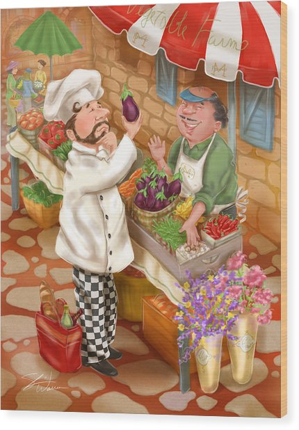 Chefs Go To Market I Wood Print