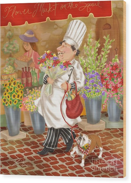 Chefs Go To Market II Wood Print