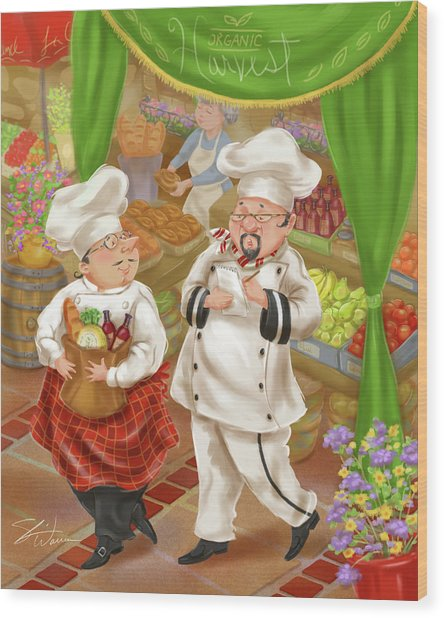 Chefs Go To Market IIi Wood Print