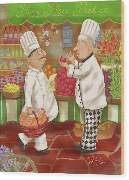 Chefs Go To Market Iv Wood Print