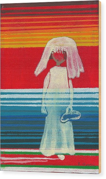 Chelita Mexican Flower Girl Wood Print by Ricky Sencion