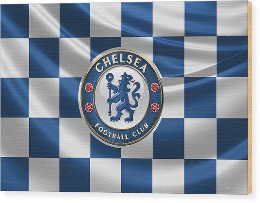 Chelsea F C - 3 D Badge Over Flag Wood Print