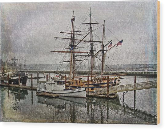 Chelsea Rose And Tall Ships Wood Print