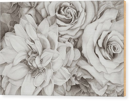 Chelsea's Bouquet - Neutral Wood Print