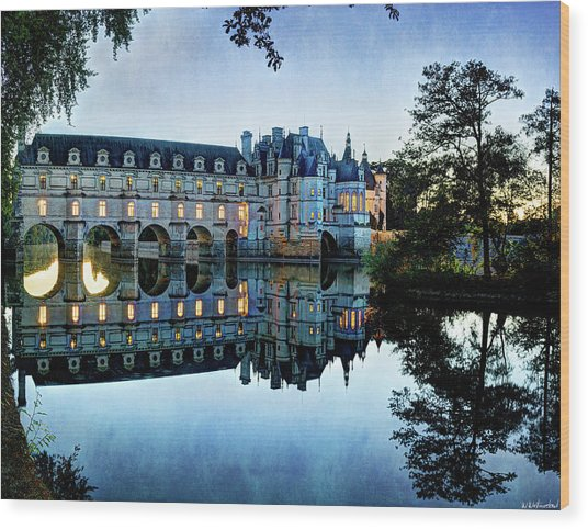 Chenonceau Twilight In Blue - Vintage Version Wood Print