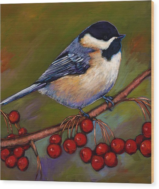 Cherries And Chickadee Wood Print