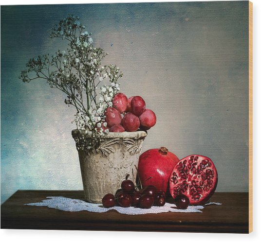 Cherries And Pommegranates Wood Print