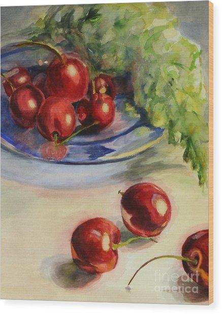 Cherries Wood Print by Lori McCray