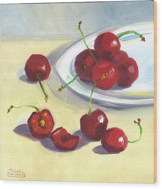 Cherries On A Plate Wood Print