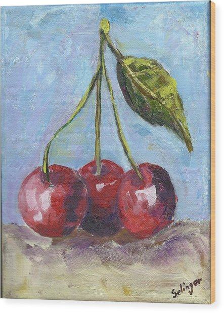 Cherries One Two Three Wood Print