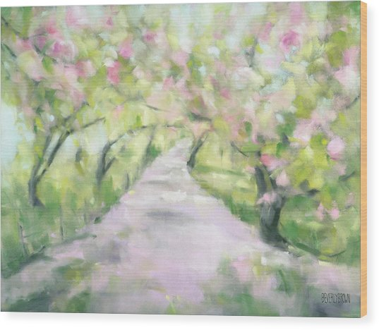 Cherry Blossom Bridle Path Central Park Wood Print