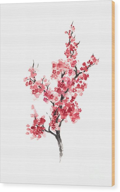 Cherry Blossom Japanese Flowers Poster Wood Print