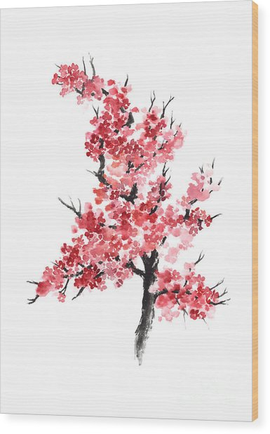 Cherry Blossom Watercolor Poster Wood Print