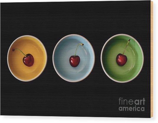 Cherry Color Block Experiment Wood Print