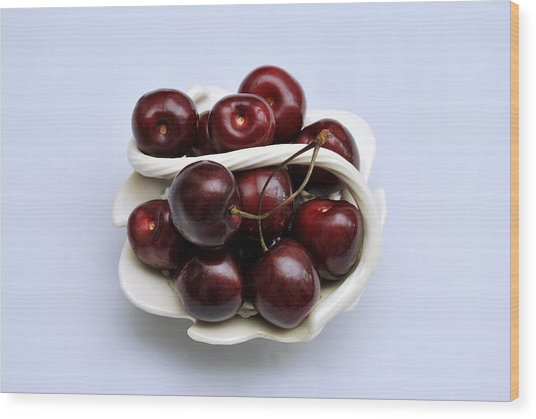 Cherry Dish Wood Print by Terence Davis