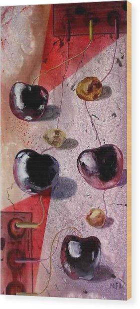 Cherry Music Wood Print by Evguenia Men